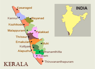 Map of Kerala, India